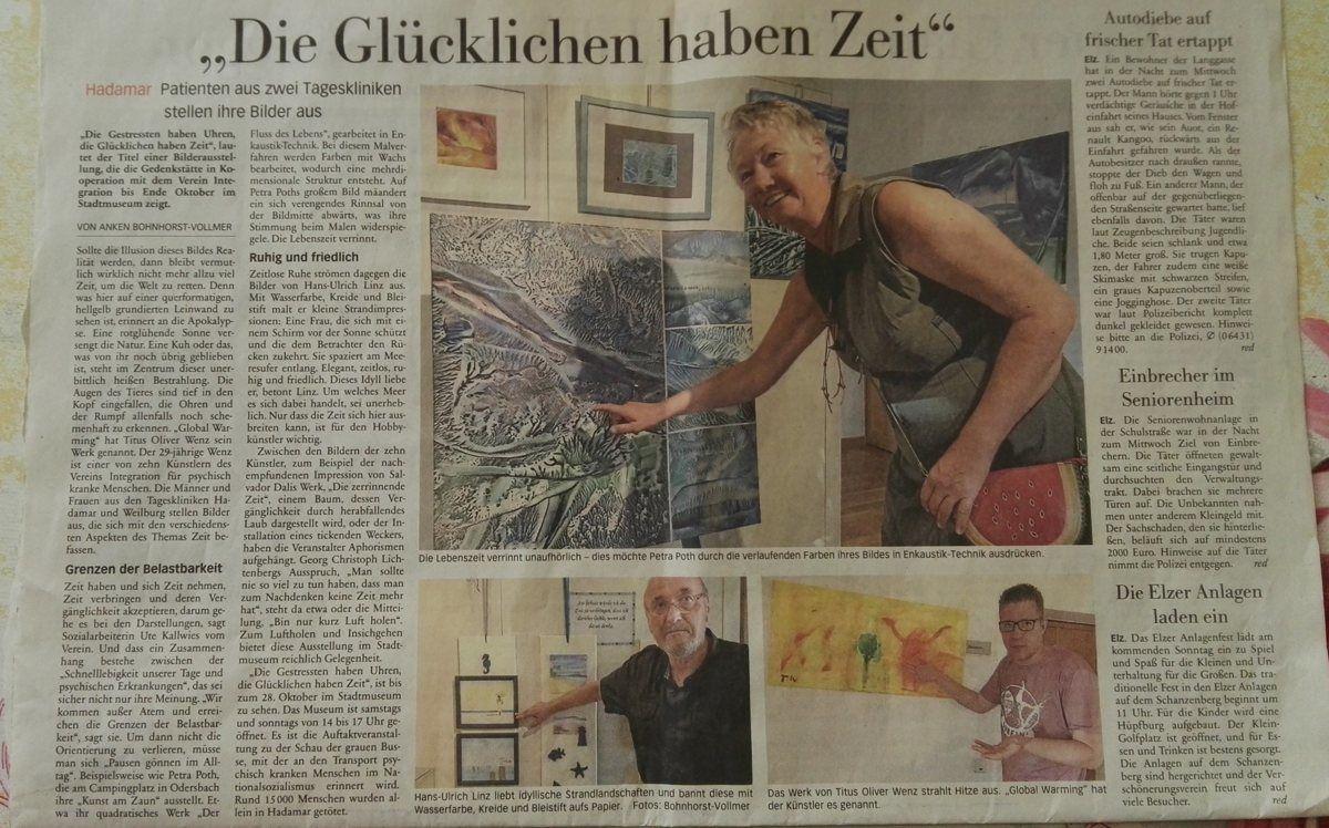 Zeitungsbericht Ausstellung Hademar mit Petra Dorothea Poth